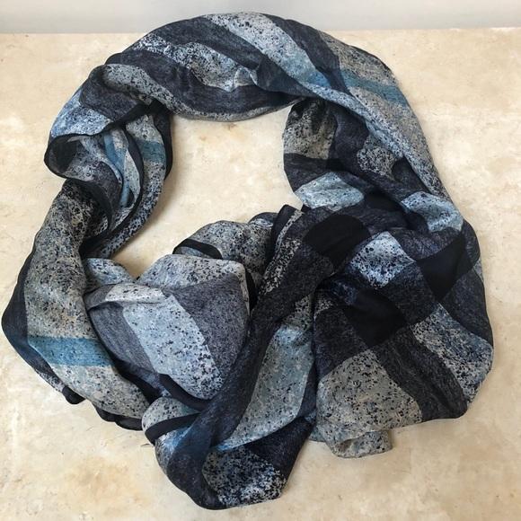Burberry 100% silk hand rolled edge long scarf EUC